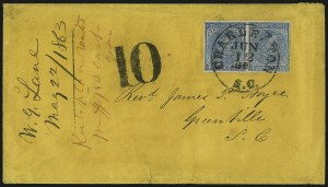 Sale Number 1043, Lot Number 2539, 5c Typographs On-Cover (Scott 6-7)5c Blue, Local (7), 5c Blue, Local (7)