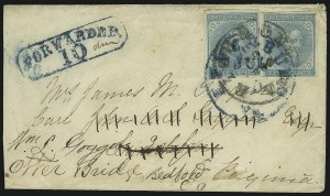 Sale Number 1043, Lot Number 2540, 5c Typographs On-Cover (Scott 6-7)5c Blue, Local (7), 5c Blue, Local (7)