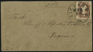 Sale Number 1043, Lot Number 2546, 2c Engraved, 10c TEN and 10c Frameline On-Cover (Scott 8-10)2c Brown Red (8), 2c Brown Red (8)