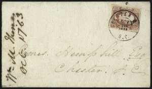 Sale Number 1043, Lot Number 2548, 2c Engraved, 10c TEN and 10c Frameline On-Cover (Scott 8-10)2c Brown Red (8), 2c Brown Red (8)