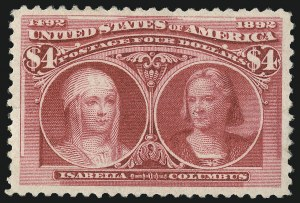 Sale Number 1044, Lot Number 196, 1890-93 Issue and Columbian Issue (Scott 219-245)$4.00 Columbian (244), $4.00 Columbian (244)