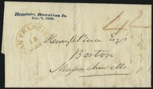 Sale Number 1045, Lot Number 6, First and Second Treaty Period: Honolulu Straightline MarkingsHAWAII, Honolulu, Hawaiian Is./Dec. 7, 1850, HAWAII, Honolulu, Hawaiian Is./Dec. 7, 1850