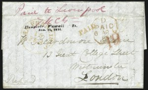 Sale Number 1045, Lot Number 7, First and Second Treaty Period: Honolulu Straightline MarkingsHAWAII, Honolulu, Hawaiian Is./Jan. 11, 1851, HAWAII, Honolulu, Hawaiian Is./Jan. 11, 1851