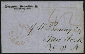 Sale Number 1045, Lot Number 8, First and Second Treaty Period: Honolulu Straightline MarkingsHAWAII, Honolulu, Hawaiian Is./March 29, 1851, HAWAII, Honolulu, Hawaiian Is./March 29, 1851