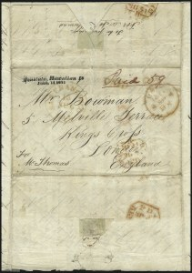 Sale Number 1045, Lot Number 9, First and Second Treaty Period: Honolulu Straightline MarkingsHAWAII, Honolulu, Hawaiian Is./June, 14 1851, HAWAII, Honolulu, Hawaiian Is./June, 14 1851