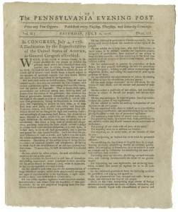 Sale Number 1046, Lot Number 101, The Declaration of Independence, First Newspaper PrintingThe Declaration of Independence, The Declaration of Independence