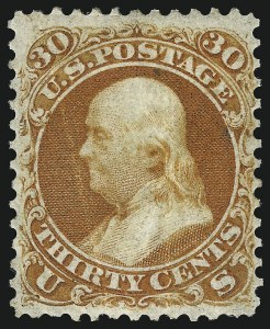 Sale Number 1048, Lot Number 261, 1861-66 Issue, 1867-68 Grilled Issue, 1875 Re-Issue30c Red Orange, First Color (61), 30c Red Orange, First Color (61)