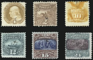 Sale Number 1048, Lot Number 277, 1869 Issue incl. Inverts, 1875 Re-Issue1c-24c 1869 Pictorial Issue, Specimens (112S-113S, 116S-117S, 119S, 120S), 1c-24c 1869 Pictorial Issue, Specimens (112S-113S, 116S-117S, 119S, 120S)