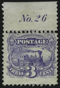 Sale Number 1048, Lot Number 281, 1869 Issue incl. Inverts, 1875 Re-Issue3c Ultramarine, Without Grill (114a), 3c Ultramarine, Without Grill (114a)