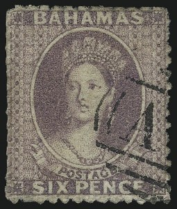 Sale Number 1049, Lot Number 1010, Bahamas thru BarbadosBAHAMAS, 1862, 6p Dull Violet, Perf 13 (10a; SG 19a), BAHAMAS, 1862, 6p Dull Violet, Perf 13 (10a; SG 19a)