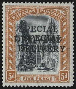 Sale Number 1049, Lot Number 1011, Bahamas thru BarbadosBAHAMAS, 1916, 5p Orange & Black, Special Delivery, Double Overprint (E1a; SG S1a), BAHAMAS, 1916, 5p Orange & Black, Special Delivery, Double Overprint (E1a; SG S1a)