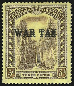 Sale Number 1049, Lot Number 1012, Bahamas thru BarbadosBAHAMAS, 1918, 3p Brown on Yellow, War Tax, Double Overprint (MR3b; SG 94a), BAHAMAS, 1918, 3p Brown on Yellow, War Tax, Double Overprint (MR3b; SG 94a)