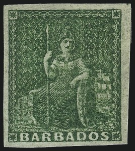 Sale Number 1049, Lot Number 1017, Bahamas thru BarbadosBARBADOS, 1857, (-1/2p) Yellow Green on White Paper (5a; SG 7), BARBADOS, 1857, (-1/2p) Yellow Green on White Paper (5a; SG 7)