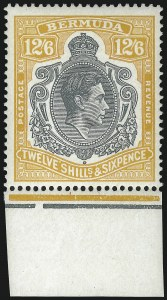 Sale Number 1049, Lot Number 1037, Bermuda thru British Columbia and Vancouver IslandBERMUDA, 1947, 12sh6p Yellow & Gray, Perf 14 (127b; SG 120d), BERMUDA, 1947, 12sh6p Yellow & Gray, Perf 14 (127b; SG 120d)