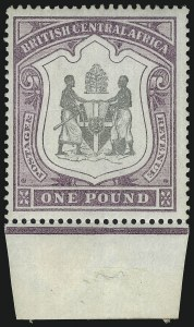 Sale Number 1049, Lot Number 1040, Bermuda thru British Columbia and Vancouver IslandBRITISH CENTRAL AFRICA, 1897, £1 Black & Dull Purple, Inverted Watermark (55 var; SG 51 var), BRITISH CENTRAL AFRICA, 1897, £1 Black & Dull Purple, Inverted Watermark (55 var; SG 51 var)