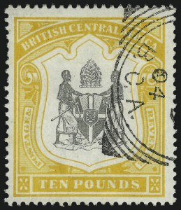 Sale Number 1049, Lot Number 1041, Bermuda thru British Columbia and Vancouver IslandBRITISH CENTRAL AFRICA, 1897, £10 Orange & Black (56; SG 52), BRITISH CENTRAL AFRICA, 1897, £10 Orange & Black (56; SG 52)