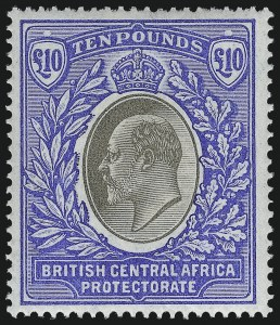 Sale Number 1049, Lot Number 1044, Bermuda thru British Columbia and Vancouver IslandBRITISH CENTRAL AFRICA, 1903, £10 Ultramarine & Black (69; SG 67), BRITISH CENTRAL AFRICA, 1903, £10 Ultramarine & Black (69; SG 67)