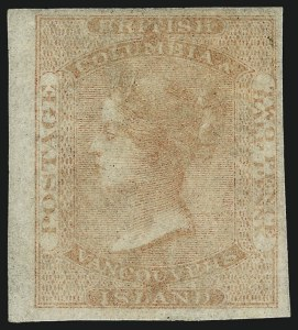 Sale Number 1049, Lot Number 1045, Bermuda thru British Columbia and Vancouver IslandBRITISH COLUMBIA & VANCOUVER ISLAND, 1860, 2-1/2p Dull Rose, Imperforate (1; SG formerly 1), BRITISH COLUMBIA & VANCOUVER ISLAND, 1860, 2-1/2p Dull Rose, Imperforate (1; SG formerly 1)