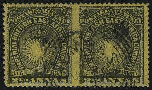 Sale Number 1049, Lot Number 1046, British East AfricaBRITISH EAST AFRICA, 1893, 2c Black on Bright Yellow, Horizontal Pair, Imperforate Between (17e; SG 7cc), BRITISH EAST AFRICA, 1893, 2c Black on Bright Yellow, Horizontal Pair, Imperforate Between (17e; SG 7cc)