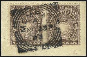 Sale Number 1049, Lot Number 1047, British East AfricaBRITISH EAST AFRICA, 1891, 4-1/2p Brown Violet, Horizontal Pair, Imperforate Between (20c; SG 11ac), BRITISH EAST AFRICA, 1891, 4-1/2p Brown Violet, Horizontal Pair, Imperforate Between (20c; SG 11ac)