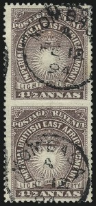 Sale Number 1049, Lot Number 1048, British East AfricaBRITISH EAST AFRICA, 1891, 4-1/2p Brown Violet, Vertical Pair, Imperforate Between (20d; SG 11ad), BRITISH EAST AFRICA, 1891, 4-1/2p Brown Violet, Vertical Pair, Imperforate Between (20d; SG 11ad)