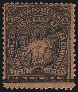 "Sale Number 1049, Lot Number 1052, British East AfricaBRITISH EAST AFRICA, 1895, -1/2a on 3a Black on Red, Manuscript Surcharge, ""T.E.R.C."" (34; SG 31), BRITISH EAST AFRICA, 1895, -1/2a on 3a Black on Red, Manuscript Surcharge, ""T.E.R.C."" (34; SG 31)"