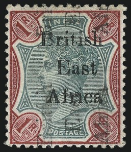 Sale Number 1049, Lot Number 1054, British East AfricaBRITISH EAST AFRICA, 1895, 1r Carmine & Rose, Double Overprint, One Sideways (67a; SG 60d), BRITISH EAST AFRICA, 1895, 1r Carmine & Rose, Double Overprint, One Sideways (67a; SG 60d)