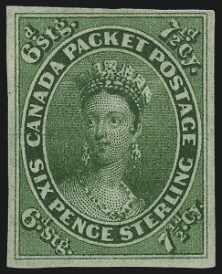 Sale Number 1049, Lot Number 1078, Canada CANADA, 1857, 7-1/2p Green (9; SG 12), CANADA, 1857, 7-1/2p Green (9; SG 12)