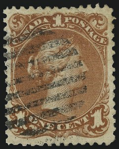 Sale Number 1049, Lot Number 1080, Canada CANADA, 1868, 1c Brown Red, Watermarked (22a; SG 55b), CANADA, 1868, 1c Brown Red, Watermarked (22a; SG 55b)