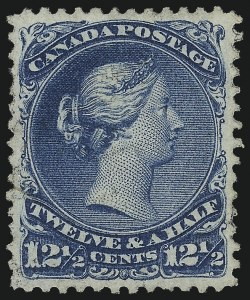 Sale Number 1049, Lot Number 1082, Canada CANADA, 1868, 12-1/2c Blue, Watermarked (28a; SG 60b), CANADA, 1868, 12-1/2c Blue, Watermarked (28a; SG 60b)