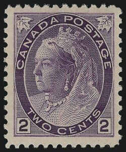 Sale Number 1049, Lot Number 1084, Canada CANADA, 1898-1902, 2c Purple, Thick Paper (76a; SG 153a), CANADA, 1898-1902, 2c Purple, Thick Paper (76a; SG 153a)