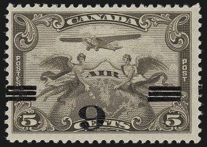 Sale Number 1049, Lot Number 1093, Canada CANADA, 1932, 6c on 5c Brown, Air Post, Inverted Surcharge (C3a; SG 313 var), CANADA, 1932, 6c on 5c Brown, Air Post, Inverted Surcharge (C3a; SG 313 var)