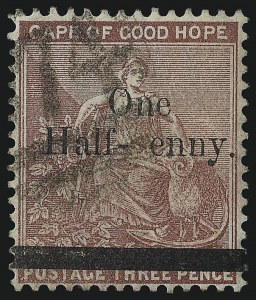 "Sale Number 1049, Lot Number 1106, Cape of Good Hope incl. Mafeking and VryburgCAPE OF GOOD HOPE, 1882, -1/2p on 3p Claret, ""p"" of ""penny"" omitted (40a; SG 47a), CAPE OF GOOD HOPE, 1882, -1/2p on 3p Claret, ""p"" of ""penny"" omitted (40a; SG 47a)"