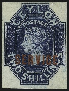 Sale Number 1049, Lot Number 1116, Cayman Islands thru FijiCEYLON, 1869, 2sh Blue, Official, Imperforate (O7a; SG O5a), CEYLON, 1869, 2sh Blue, Official, Imperforate (O7a; SG O5a)