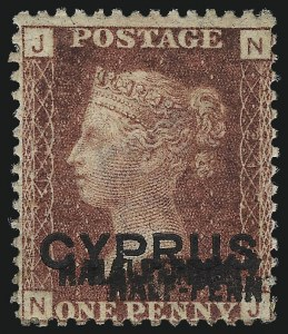 Sale Number 1049, Lot Number 1117, Cayman Islands thru FijiCYPRUS, 1881, -1/2p on 1p Red, Plate 215, Triple Surcharge (10e; SG 9ba), CYPRUS, 1881, -1/2p on 1p Red, Plate 215, Triple Surcharge (10e; SG 9ba)