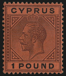 Sale Number 1049, Lot Number 1119, Cayman Islands thru FijiCYPRUS, 1921, £1 Violet and Black on Red (88), CYPRUS, 1921, £1 Violet and Black on Red (88)