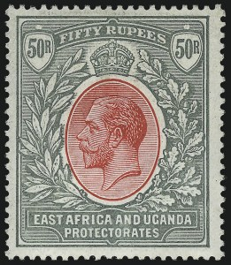 Sale Number 1049, Lot Number 1120, Cayman Islands thru FijiEAST AFRICA AND UGANDA PROTECTORATES, 1912, 50r Gray Green & Rose Red (57; SG 61), EAST AFRICA AND UGANDA PROTECTORATES, 1912, 50r Gray Green & Rose Red (57; SG 61)