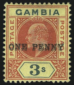 Sale Number 1049, Lot Number 1132, Gambia thru Gold CoastGAMBIA, 1906, 1p on 3sh Red & Green on Yellow, Double Surcharge (66a; SG 70a), GAMBIA, 1906, 1p on 3sh Red & Green on Yellow, Double Surcharge (66a; SG 70a)