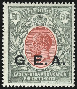 Sale Number 1049, Lot Number 1133, Gambia thru Gold CoastGERMAN EAST AFRICA, 1917, 50r Gray Green & Red (N122; SG 62), GERMAN EAST AFRICA, 1917, 50r Gray Green & Red (N122; SG 62)