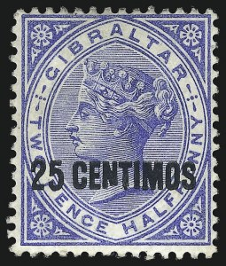 "Sale Number 1049, Lot Number 1135, Gambia thru Gold CoastGIBRALTAR, 1899, 25c on 2-1/2p Ultramarine, Broken ""N"" Variety (25b; SG 18ab), GIBRALTAR, 1899, 25c on 2-1/2p Ultramarine, Broken ""N"" Variety (25b; SG 18ab)"