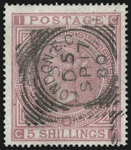 Sale Number 1049, Lot Number 1140, Great Britain incl. Offices AbroadGREAT BRITAIN, 1867, 5sh Pale Rose (57a; SG 127), GREAT BRITAIN, 1867, 5sh Pale Rose (57a; SG 127)