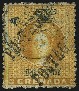 Sale Number 1049, Lot Number 1157, Grenada GRENADA, 1883, -1/2p on Half of 1p Orange & Green, Unsevered Pair (14a; SG 28a), GRENADA, 1883, -1/2p on Half of 1p Orange & Green, Unsevered Pair (14a; SG 28a)