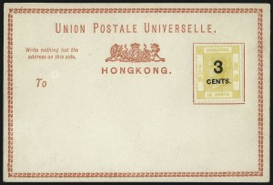 Sale Number 1049, Lot Number 1166, Hong KongHONG KONG, 1879, 3c on 16c Yellow (35A; SG P1), HONG KONG, 1879, 3c on 16c Yellow (35A; SG P1)
