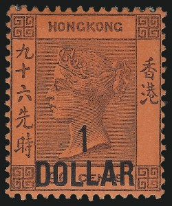 Sale Number 1049, Lot Number 1169, Hong KongHONG KONG, 1891, $1.00 on 96c Violet on Red (56; SG 47), HONG KONG, 1891, $1.00 on 96c Violet on Red (56; SG 47)