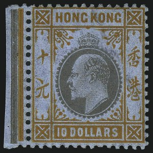 Sale Number 1049, Lot Number 1177, Hong KongHONG KONG, 1904, $10.00 Orange & Black on Chalky Paper (108; SG 90b), HONG KONG, 1904, $10.00 Orange & Black on Chalky Paper (108; SG 90b)