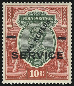 Sale Number 1049, Lot Number 1180, India incl. Convention and Feudatory StatesINDIA, 1925, 2r on 10r Carmine Rose & Green, Surcharge on King George V (O69b; SG O104), INDIA, 1925, 2r on 10r Carmine Rose & Green, Surcharge on King George V (O69b; SG O104)