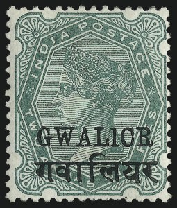 "Sale Number 1049, Lot Number 1183, India incl. Convention and Feudatory StatesINDIA, GWALIOR, 1896, 2sh6p Green, ""GWALICR"" Error (24a; SG 23a), INDIA, GWALIOR, 1896, 2sh6p Green, ""GWALICR"" Error (24a; SG 23a)"