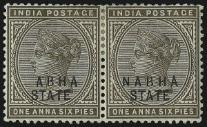 "Sale Number 1049, Lot Number 1184, India incl. Convention and Feudatory StatesINDIA, NABHA, 1885, 1a6p Bister Brown, ""N"" omitted (14a; SG 18a), INDIA, NABHA, 1885, 1a6p Bister Brown, ""N"" omitted (14a; SG 18a)"