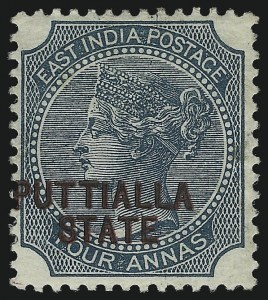 Sale Number 1049, Lot Number 1186, India incl. Convention and Feudatory StatesINDIA, PATIALA, 1885, 4a Green, Double Overprint, One in Black (10a; SG 9a), INDIA, PATIALA, 1885, 4a Green, Double Overprint, One in Black (10a; SG 9a)