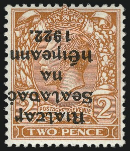 Sale Number 1049, Lot Number 1199, Iraq thru IrelandIRELAND, 1922, 2p Orange, Die II, Inverted Overprint (16a; SG 13a), IRELAND, 1922, 2p Orange, Die II, Inverted Overprint (16a; SG 13a)